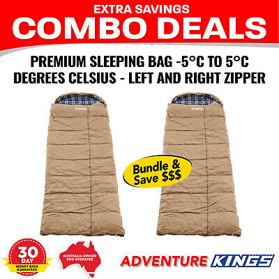 2 x Kings Premium Sleeping bag -5 to +5 Degrees Celsius - Left And Right Zipper