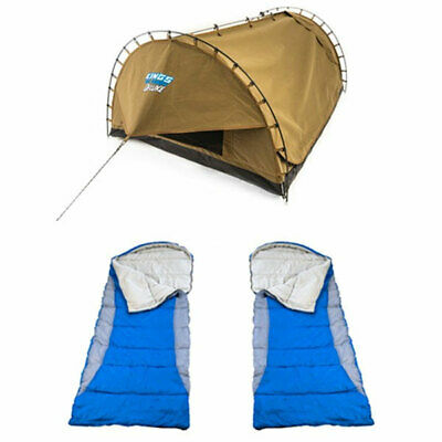 Canvas Tent Camping 4WD Double Swag Big Daddy Deluxe + 2x - Hooded Sleeping Bag