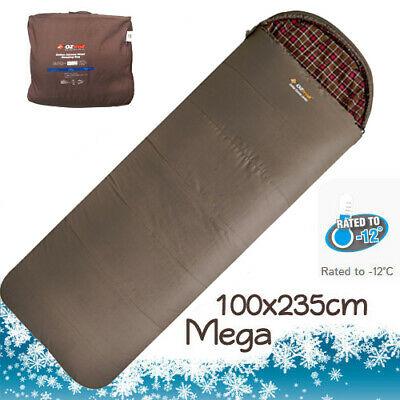 OZTRAIL COTTON CANVAS -12Cel. MEGA SLEEPING BAG (235 x 100cm) + CARRY BAG