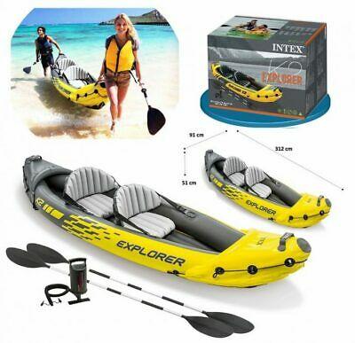 Intex Explorer K2 Inflatable Kayak 2 Seat Floating Boat Oars River/Lake 68307