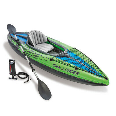 Intex Sports Challenger K1 Inflatable Kayak 1 Seat Floating Boat Oars River/Lake