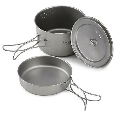 Lixada 2pcs Camping Cookware Set Titanium Pot Pan Cooking Set T8E9