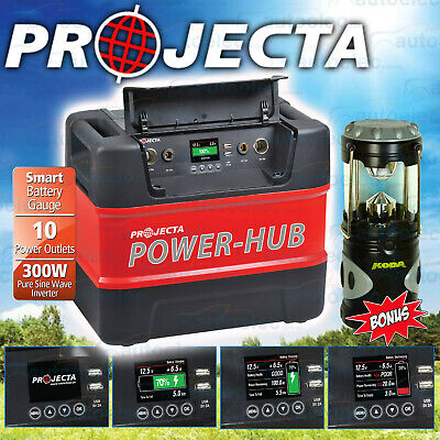 Projecta 12V 240V Power Hub 300W Sine Inverter Battery Box Ph125 + Led Lantern