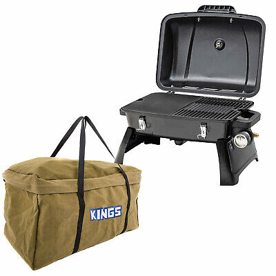 Gasmate Voyager Portable BBQ Hotplate/Grill + Kings Campfire BBQ Canvas Bag